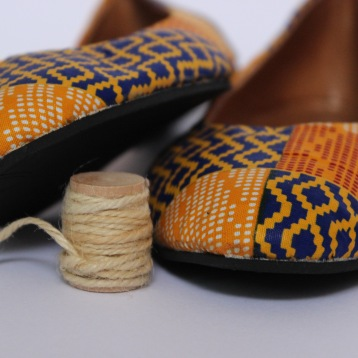Ballet flats, orange-blue geometric material