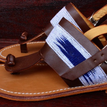 sandals-1 with blue and white pagne