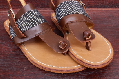 sandals-1, light brown leather with black and gold dotted pagne