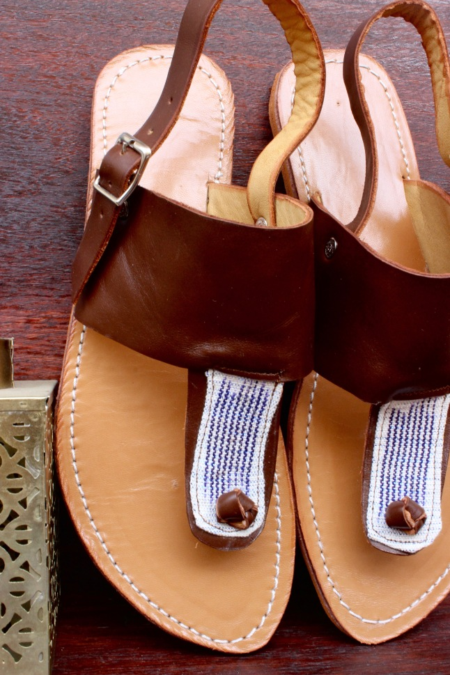 sandals-1, light brown leather with white and blue pagne between toe