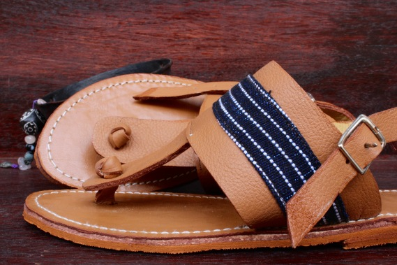 sandals1 - light brown leather with blue pagne