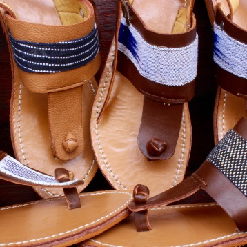 sandals, assortment of leathers and pagne