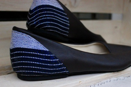 ballet flats, black leather and white-blue pagne on heel